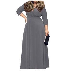 Gray, V-Neck 3/4 Sleeve, MAXI-Dress, Sz. 3XL